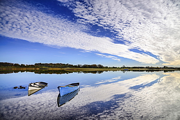 Ireland, County Mayo, Boats moored on Lough Carra.