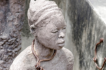 Tanzania, Zanzibar, Stone Town, Sculpture entitled Memory for the Slaves at the former slave market.