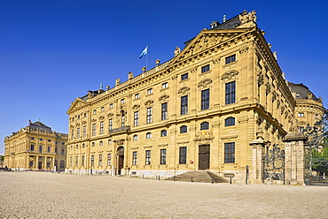 Germany, Bavaria, Wurzburg, Wurzburg Residenz or Residence Palace, View of the facade.