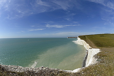 England, East Sussex, View along the Seven Sisters at Flagstaff point near Crowlink.