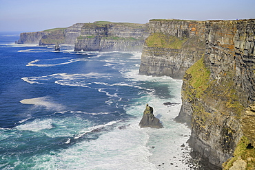 Ireland, County Clare, Cliffs of Moher from the south on the Cliffs of Moher Coastal Walk.