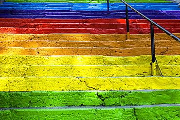 Turkey, Istanbul, Colourful painted steps, Karakoy region.