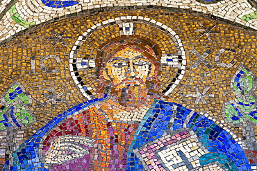 Romania, Constanta, Mosaic of Christ on exterior of Saint Peter and Saint Paul the Apostles Cathedral.