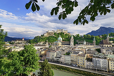 Austria, Salzburg, Vista of the city centre area as far as the Festung Hohensalzburg Fortress from the Kapuzinerberg Viewpoint.