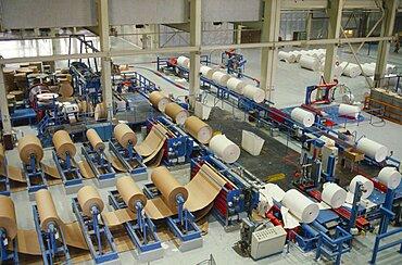 FINLAND Turku-Pori Rauma Paper factory interior.  Factory floor.
