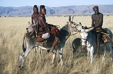 NAMIBIA Marienfluss Himba group on donkeys.  Semi nomadic pastoral people related to the Herero and speaking the same language