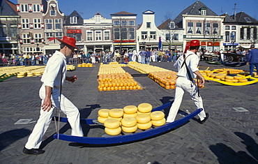HOLLAND Noord Holland Alkmaar Cheese carriers at the friday cheese market in Waagplein Square