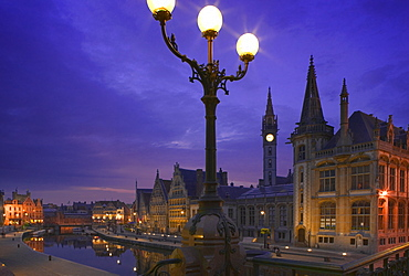 BELGIUM Ghent View at night of the medieval core of the city over the Leie River from St Michielsbrug  St Michiels Bridge. Travel  Holidays  Tourism  Flemish Region