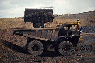 GABON  Moanda Loading large truck at manganese mine.  Lorry