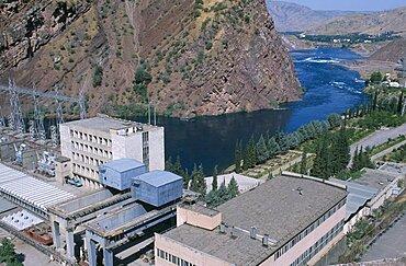 TAJIKISTAN  Nurek General view of the hydroelectric power station. hydropower