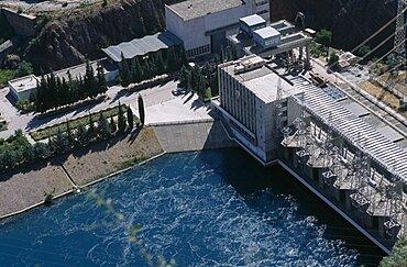 TAJIKISTAN  Nurek View looking down on the hydroelectric power station.       hydropower