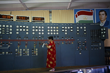 TAJIKISTAN  Nurek The main hall of the hydroelectric power station  a woman taking readings from the control panel.   hydropower