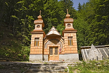 SLOVENIA  Triglav National Park Julian Mountain Range Ruska Kapelica The Russian Chapel 1915 -17 - the pyramid on the right is a memorial to 100 Russian Prisoners of War killed in an avalanche whilst building the road through the Julian Alps   Monument architecture wooden building highly decorated stone pyramid onion domes
