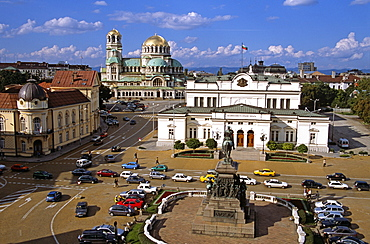 BULGARIA  Sofia Liberation Monument  Bulgarian Parliament Building  Science Academy  and Alexander Nevsky Cathedral. Travel Tourism Holiday Vacation Explore Recreation Leisure Sightseeing Tourist Attraction Tour Building Architecture Architectural Sofia Capital City Bulgaria Bulgarian East Eastern Europe European Calendar Vivid Vibrant Summer Bright Sunny Sun Blue Sky Liberation Monument Parliament Government History Historic Historical Magnificent National Assembly Cars Traffic Building Architecture Architectural Alexander Nevsky Nevski Cathedral Church Churches Religion Religious Christianity Orthodox Holy Divine Christian Theology Pray Prayer Worship Worshipping Worshiping Calendar Vivid Vibrant Fluffy Cloud Centre Center Landscape Panorama Panoramic Science Academy University Eastern Europe