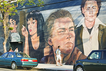 USA California Los Angeles Los Feliz. Hollywood stars featured on a mural.  Los Angeles LA travel USA America Johnny Depp Leonardo di Caprio Elizabeth Taylor Uma Thurman mural street chic cinema icon star movies fame famous American North America United States of America