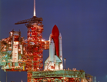 SPACE Nasa Take Off Columbia space shuttle on the launch pad at night