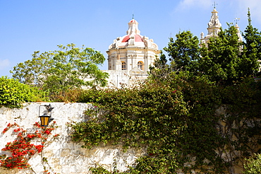 The Silent City, The dome of 17th Century Saint Pauls Cathedral designed by architect Lorenzo Gafa seen from Bastion Square, Mdina, Malta