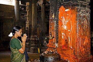 Female worshiper praying beside a shrine, Meenakshi Temple, Madurai, Tamil Nadu, India