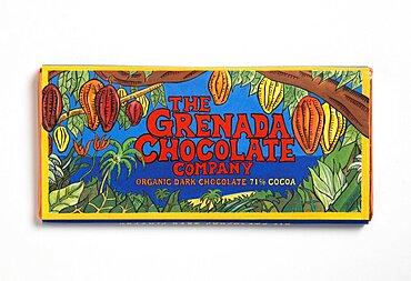 Bar of 71% percent cocoa organic dark chocolate form The Grenada Chocolate Company in colourful wrapper, Grenada, Caribbean
