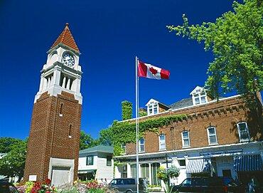 CANADA Ontario  Niagara on the Lake Queen Street Clock Tower & Flag