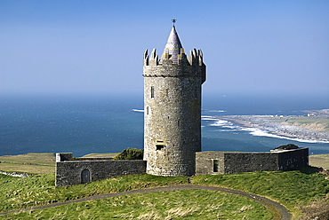 Ireland, County Clare, Doolin, Doonagore Castle is a round 16th century tower house 1 km above Doolin village