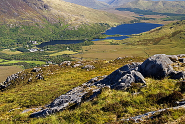 IRELAND, County Galway, Connemara, Diamond Hill, view of Kylemore Abbey and Kylemore Lough from summit of Diamond Hill