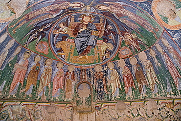 Turkey, Cappadocia, Goreme, Red Valley. Hacli Kilise or The Church of the Cross. Interior of rock cut cave church on the North rim of the Red Valley with detail of ceiling fresco damaged by superstitous gouging to eradicate the evil eye.