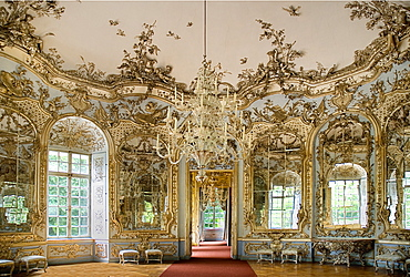 Germany, Bavaria, Munich, Nymphenburg Palace. Amalienburg The Hall of Mirrors interior of hunting lodge created for Electress Amalia in European Rococo style.