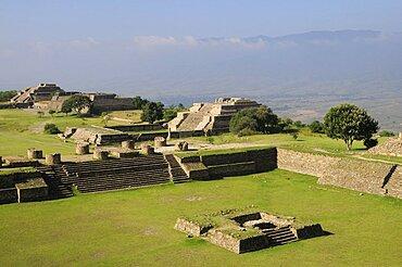 Site view onto ball court or Juegos de Pelota, Monte Alban, Oaxaca, Mexico