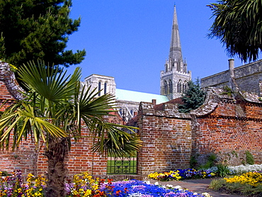 Chichester Cathedral from Bishops Palace Gardens, Chichester, West Sussex, England