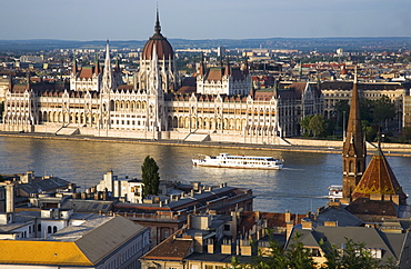 Hungary, Budapest, Buda Castle District, view over Danube and Pest with Parliament Building.
