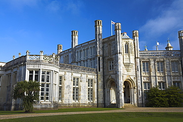 The restored stately home of Highcliffe Castle on the clifftops above Highcliffe Bay, Dorset, England, United Kingdom, Europe