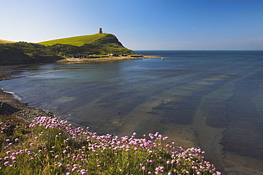 Early summer clifftop view of Kimmeridge Bay and Clavell Tower, Jurassic Coast, UNESCO World Heritage Site, Dorset, England, United Kingdom, Europe