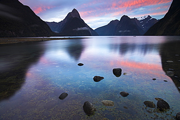 Sunrise at Milford Sound in Fiordland National Park, UNESCO World Heritage Site, South Island, New Zealand, Pacific