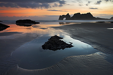 Sunrise on Wharariki Beach at the top of the South Island, New Zealand, Pacific
