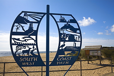 Sign announcing the start of the famous South West Coast Path, which leads 630 miles to Minehead, Studland Bay, Dorset, England, United Kingdom, Europe
