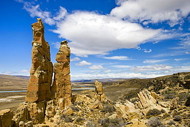 Sandstone pillars on the Patagonian Steppe, Patagonia, Argentina, South America