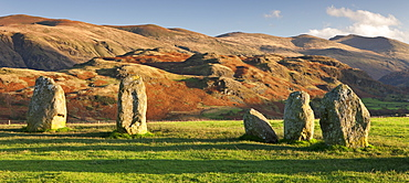 Megalithic standing stones at Castlerigg Stone Circle, Lake District National Park, Cumbria, England, United Kingdom, Europe