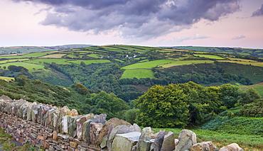 Looking towards Heale Brake from Trentishoe Down, Exmoor National Park, Devon, England, United Kingdom, Europe