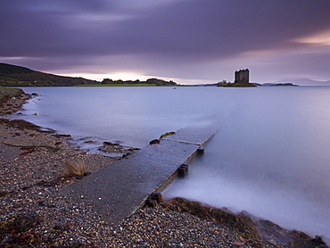 Concrete slipway leading to Castle Stalker and Loch Linnhe, Argyll, Scotland, United Kingdom, Europe