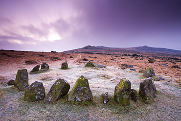 Stone circle cairn on Dartmoor, known as both the Nine Maidens and the Seventeen Brothers, Belstone Common, Dartmoor National Park, Devon, England, United Kingdom, Europe
