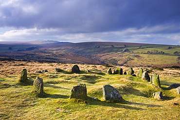 The Nine Maidens stone circle, otherwise known as the Seventeen Brothers on Belstone Common in Northern Dartmoor National Park, Devon, England, United Kingdom, Europe