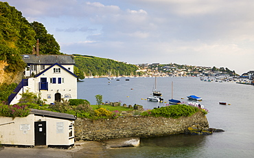 Looking across Fowey estuary to Polruan from the ferry landing point at Bodinnick, Cornwall, England, United Kingdom, Europe
