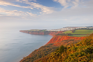 Looking over Littleham Cove towards Straight Point, and a clifftop caravan park, Jurassic Coast, UNESCO World Heritage Site, Exmouth, Devon, England, United Kingdom, Europe