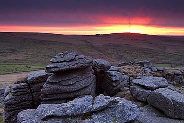 Sunrise over Great Staple Tor, Dartmoor National Park, Devon, England, United Kingdom, Europe