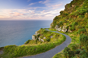 Clifftop footpath at Valley of the Rocks, Exmoor National Park, Devon, England, United Kingdom, Europe