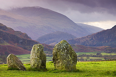 Castlerigg Stone Circle and mountains, Lake District National Park, Cumbria, England, United Kingdom, Europe