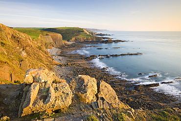 Clifftop vista of Blegberry Bay and Hartland Quay from Damehole Point, Hartland, Devon, England, United Kingdom, Europe