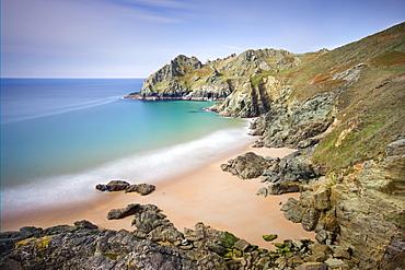 Pristine sandy beach at Elender Cove, looking towards Gammon Head, Salcombe, South Hams, Devon, England, United Kingdom, Europe