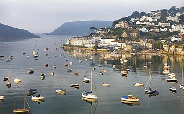Early morning sunlight on Salcombe and the yachts in Kingsbridge Estuary, South Hams, Devon, England, United Kingdom, Europe